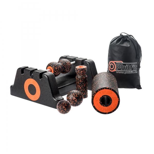Philfit Classic Set Medium, schwarz / orange mit Boden- und Wandhalterung