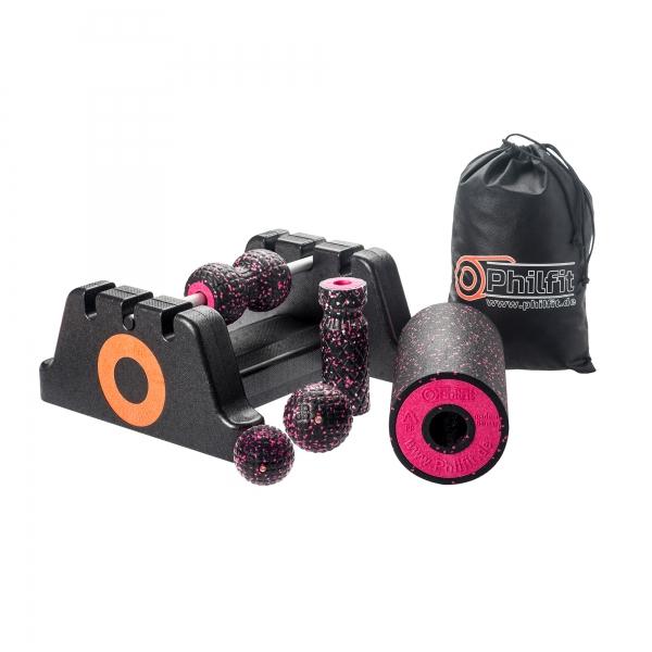 Philfit Classic Set Medium, schwarz / pink mit Boden- und Wandhalterung